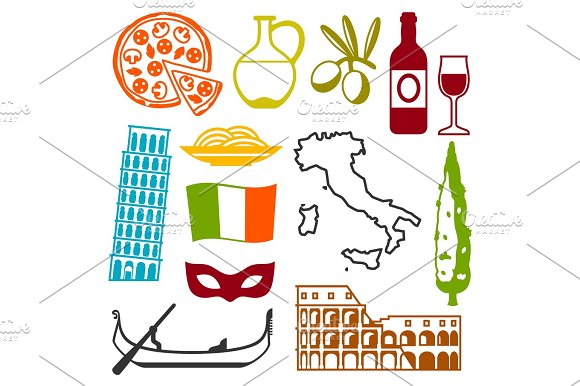 Italy Icons Set Italian Symbols And Objects