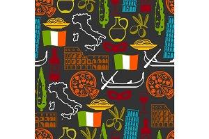 Italy seamless pattern. Italian symbols and objects