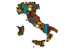 Italy background design in shape of map. Italian symbols and objects