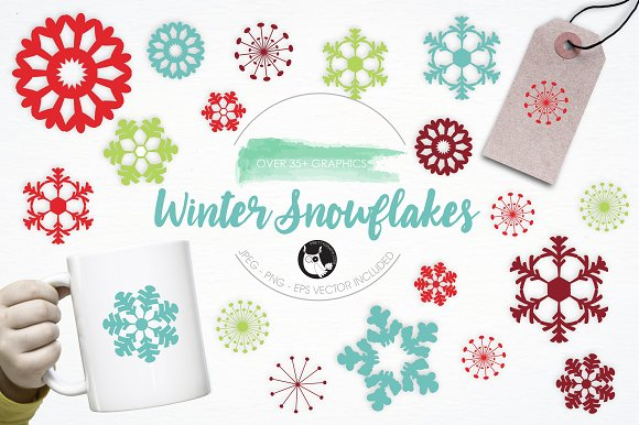 Winter Snowflakes Illustration Pack