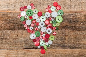 Heart made of buttons