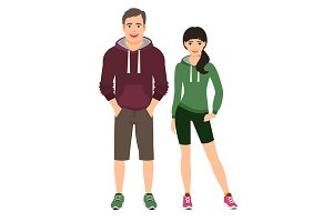 Fashion couple in fitness outfit