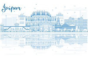 Outline Jaipur Skyline