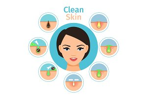 Female facial treatments illustration