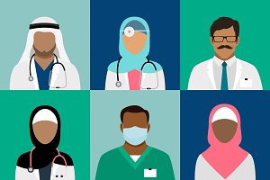 Arabian muslim medical staff avatars