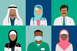 Arabian muslim medical staff avatars