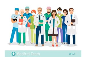 Hospital or medical staff cartoon characters