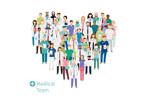 Healthcare medical team in heart shape