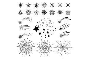 Doodle sketch night star set
