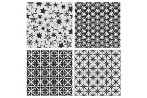 Star abstract seamless pattern texture set