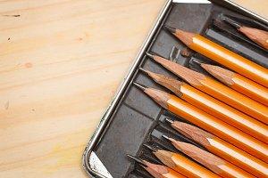 Set of graphite pencils in box