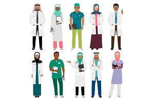 African doctor and arab nurse characters