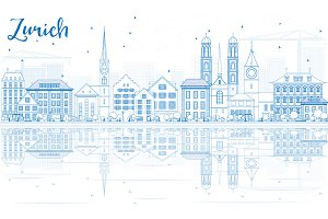 Outline Zurich Skyline