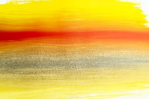 Yellow red abstract gouache