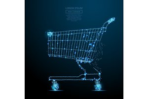 shopping cart low poly blue