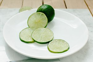 Cut lime on a plate
