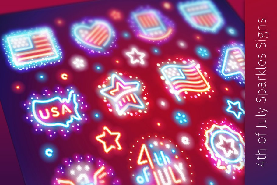 Fourth of July Signs with Sparkles