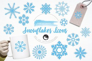 Snowflakes Icons illustration pack