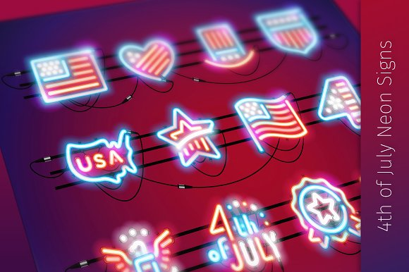 Fourth Of July Neon Signs