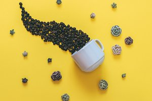 coffee beans and flowers