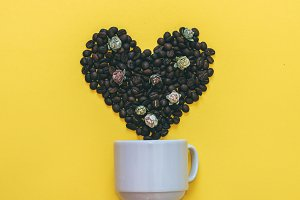 coffee beans and flowers in heart