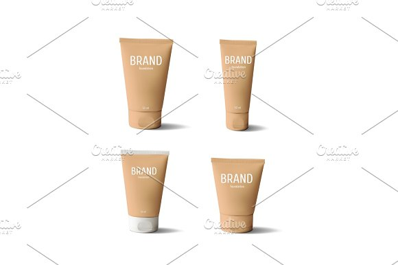 Package Design Cosmetic Products Foundation Realistic Tube