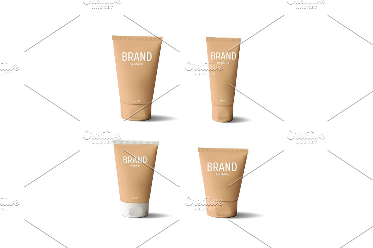 Package design cosmetic products. Foundation realistic tube.