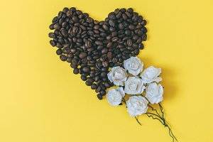 coffee beans in heart shape
