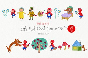 Little red riding hood watercolor
