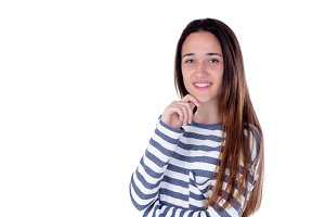 Teenager girl isolated on white