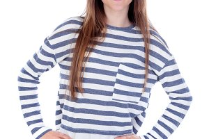 Teenager girl isolated on white