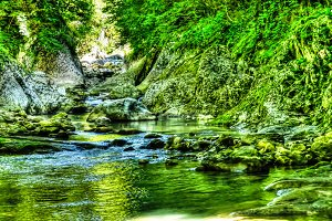 Panorama of Green canyon of Machara river Abkhazia