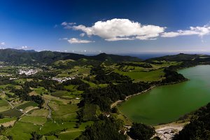 Aerial view to Furnas lake, Sao Migel, Azores, Portugal