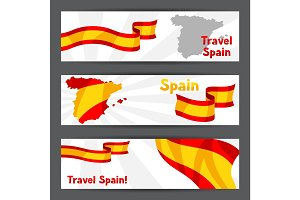Banners with flag and map of Spain.