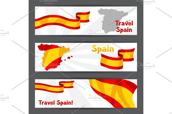 Banners With Flag And Map Of Spain