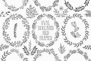 Hand drawn oval wreaths