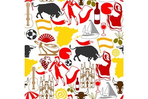 Spain seamless pattern.