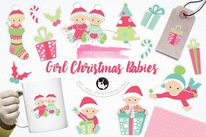Girl Christmas Babies illustrations