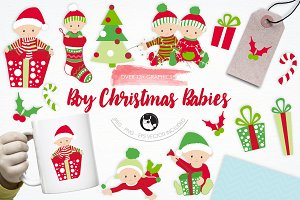 Boy Christmas Babies illustrations