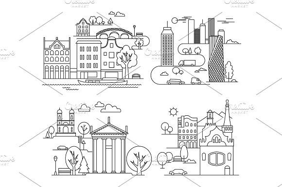 City Design Elements Linear Style Vector Illustration
