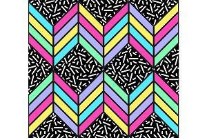 Bright seamless pattern in 80s style with abstract multicolored arrows and memphis print