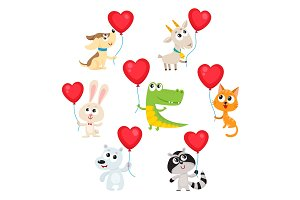 Cute and funny baby animals holding red heart shaped balloons