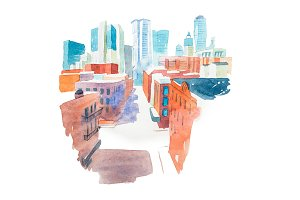 Aquarelle modern city landscape with houses and buildings watercolor illustration.