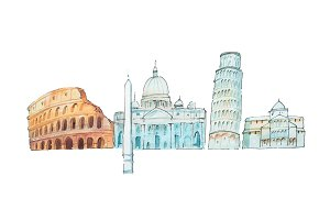 Famous Italian landmarks travel and tourism waercolor illustration.