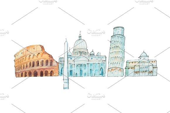 Famous Italian Landmarks Travel And Tourism Waercolor Illustration