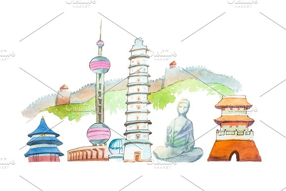 Famous Chinese Landmarks Travel And Tourism Waercolor Illustration