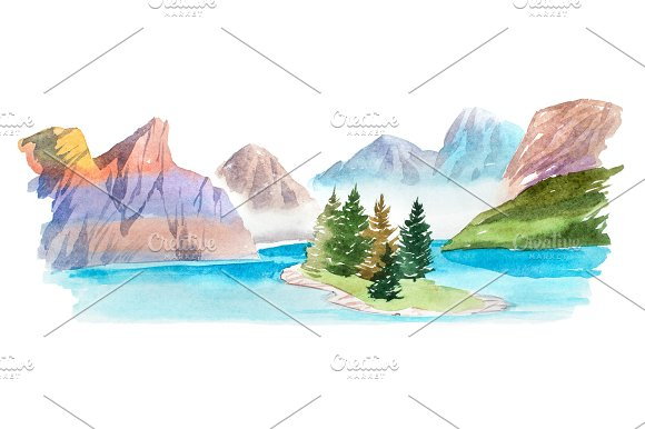 Natural Summer Landscape Mountains And Lake Watercolor Illustration