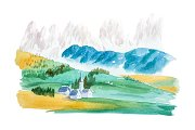 Natural summer landscape mountains and meadow watercolor illustration