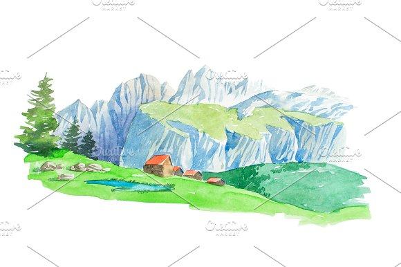 Natural Summer Beautiful Mountain Landscape Watercolor Illustration