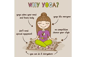 Yoga benefits hand drawn infographic